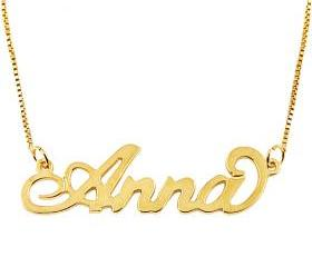 "Small 18K Gold Plated Sterling Silver ""Carrie"" Name Necklace"